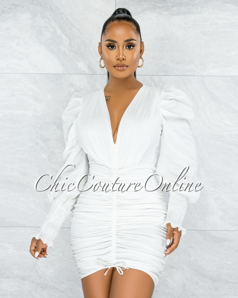 Letsey Off-White Draped Deep-V Neckline Midi Dress