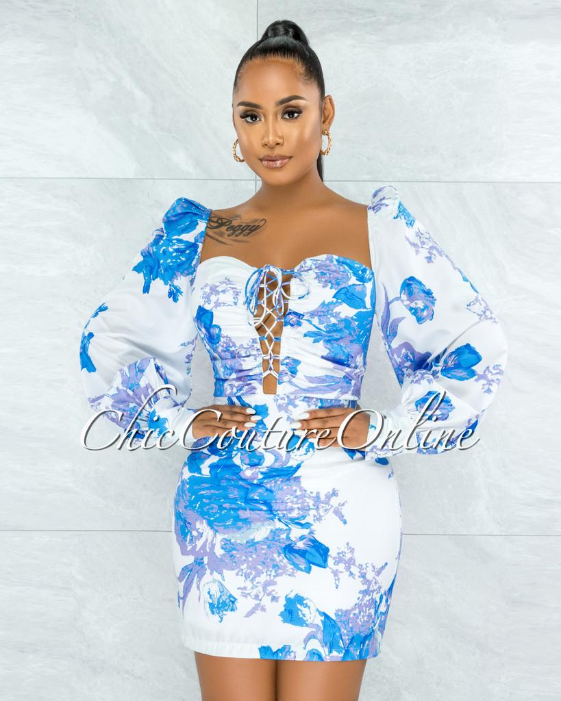 Harell White Blue Lavender Floral Print Lace Up Mini Dress