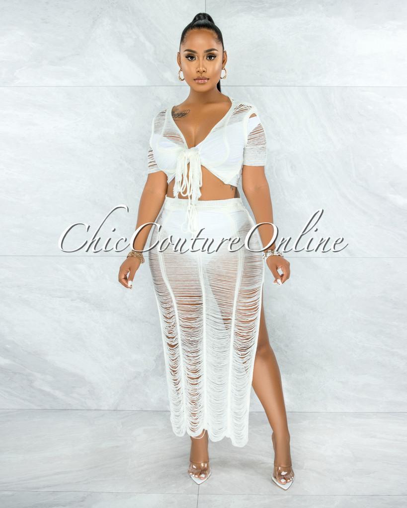 Bulat Off-White Crochet Cover-Up Maxi Skirt Set