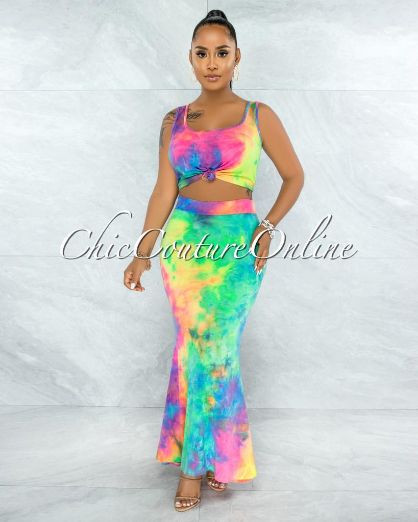Palti Rainbow Tie-Dye Crop Top & Maxi Skirt Set