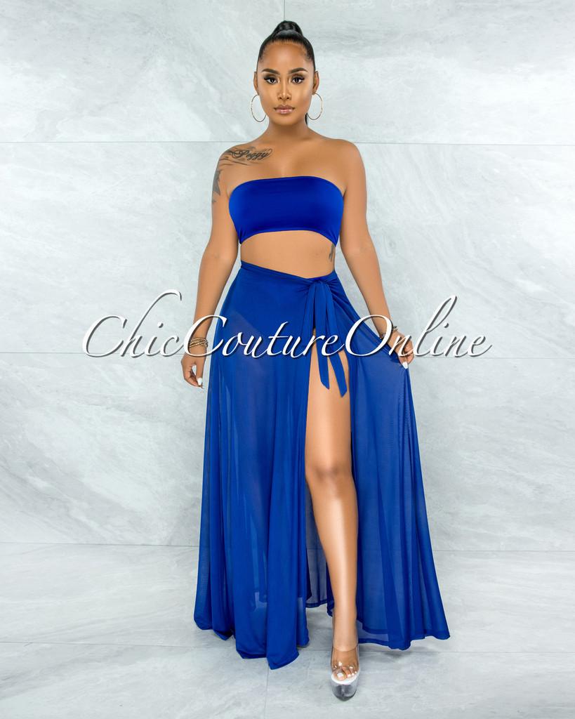 Palmira Royal Blue Mesh Pareo Three Piece Set Swimsuit