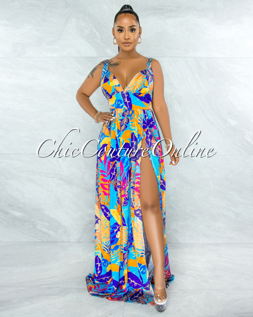 Ishan Purple Turquoise Leaf Print High Slit Maxi Dress