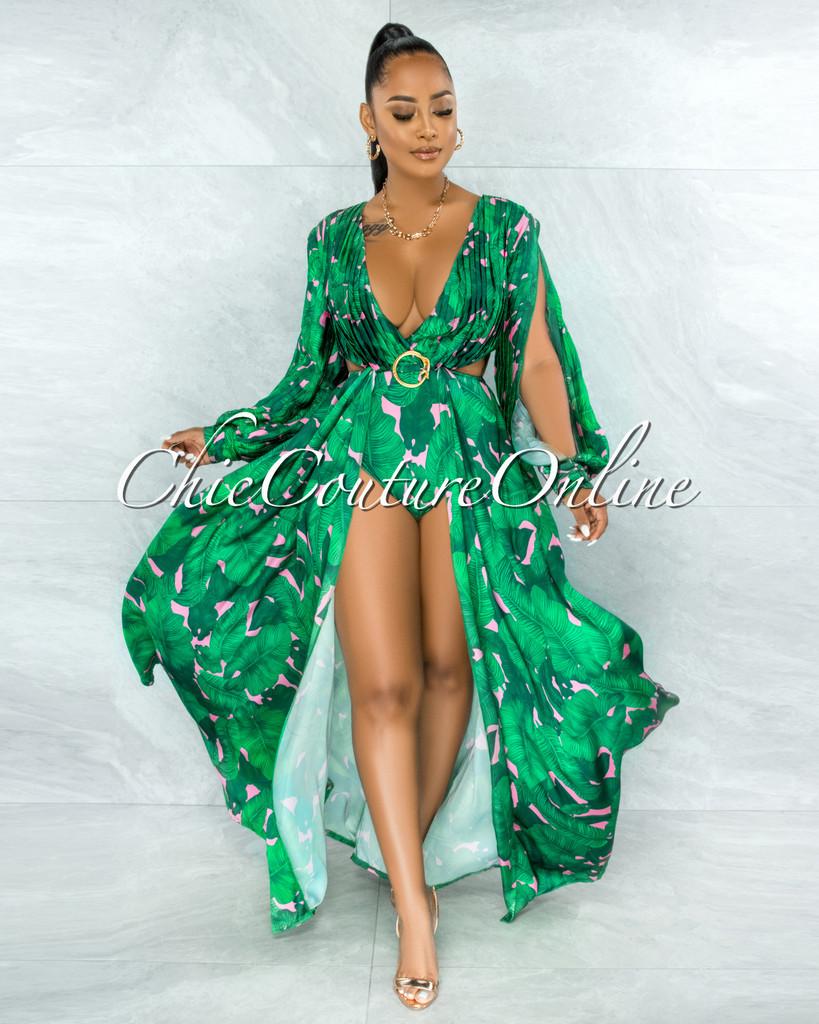 Kassa Green Pink Leaf PrintGold Buckle Maxi Bodysuit Dress