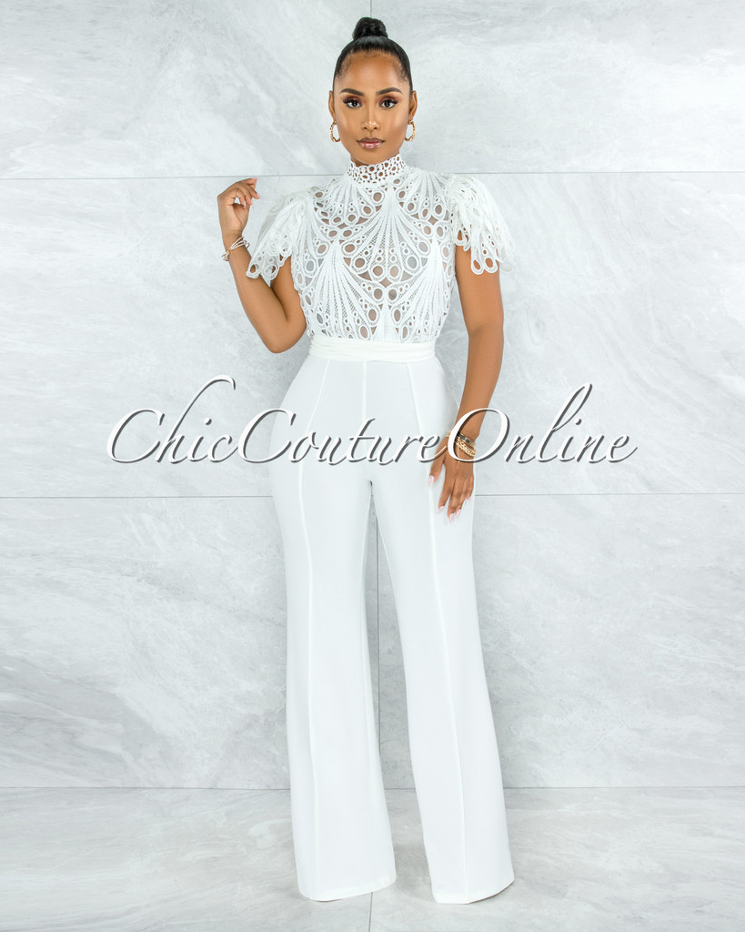 Charity Off-White Crochet See-Thru Top Ruffle Sleeves Jumpsuit