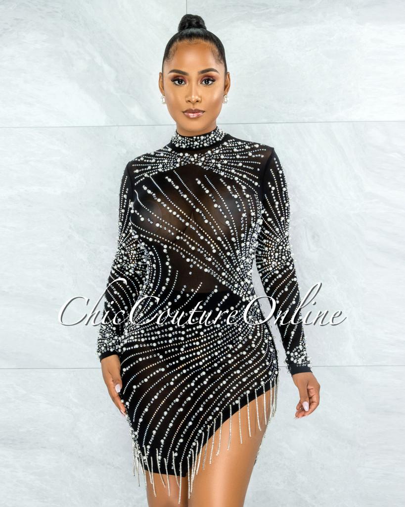 Caterina Black Pearl Rhinestones Fringe Mesh Dress