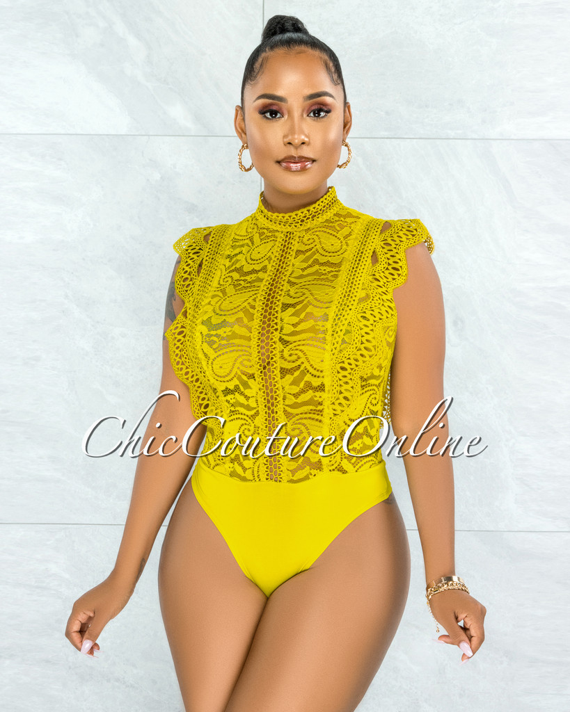 Dayra Lime Yellow Lace See-Through Crochet Details Bodysuit