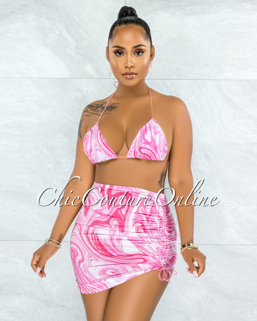 Jocosa White Pink Print Two Piece Swim Set