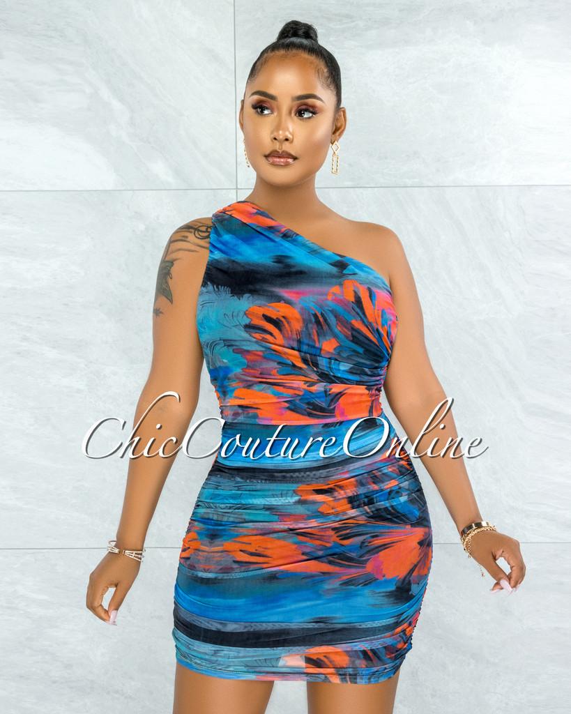 Leoda Blue Red Print Mesh Ruched Single Shoulder Dress