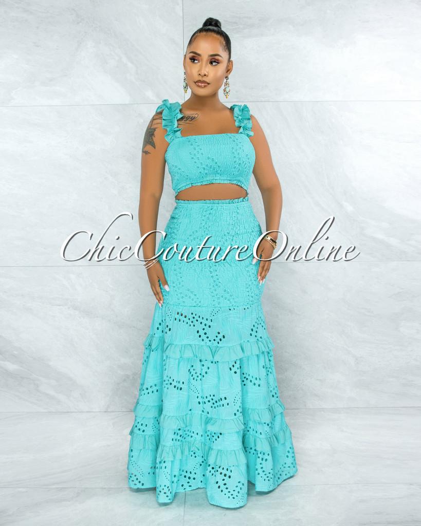 Gloria Turquoise Eyelet Two Piece Maxi Skirt Set