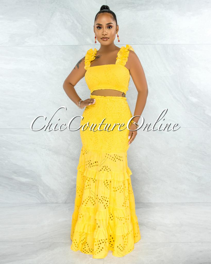 Gloria Yellow Eyelet Two Piece Maxi Skirt Set