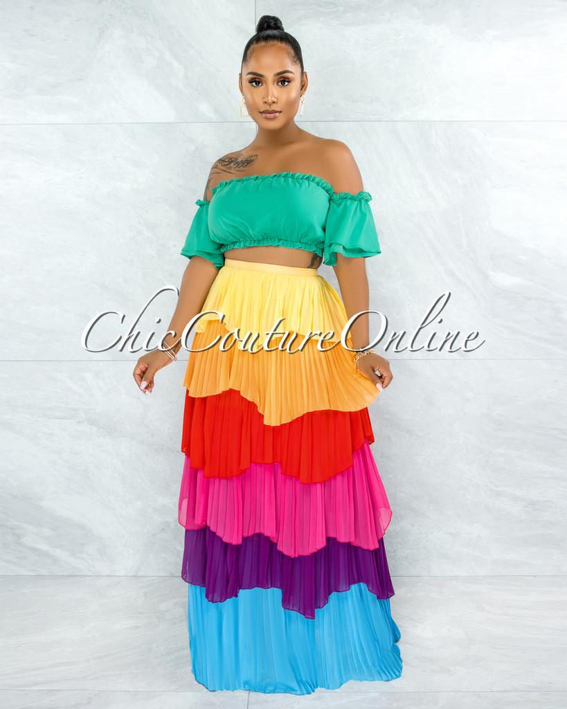 Agustina Green Top Rainbow Pleated Ruffle Maxi Skirt Set