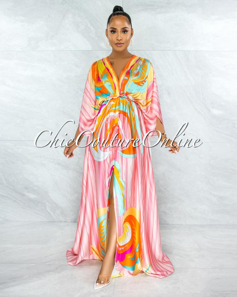 Zamilla Pink Multi-Color Print Buttons Maxi Satin Dress