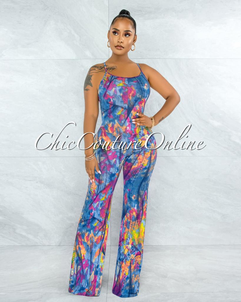 Mercedes Blue Denim Print Low Back Jumpsuit