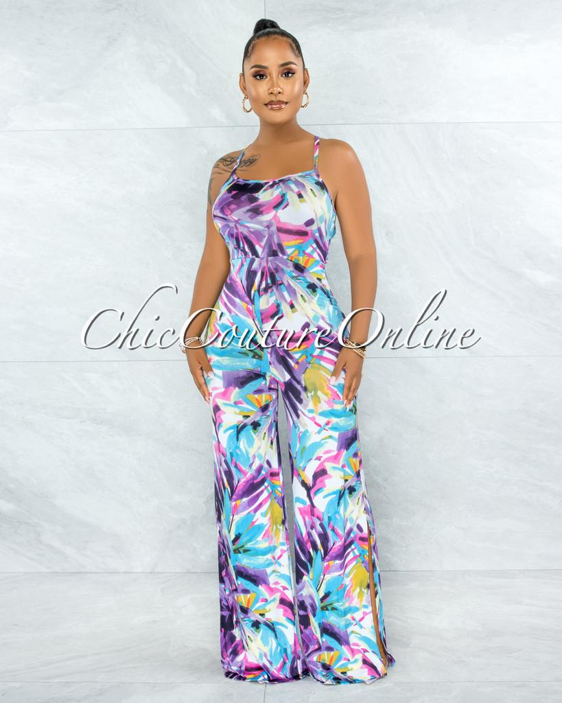 Tasmine Purple Multi-Color Print Lace-Up Back Jumpsuit
