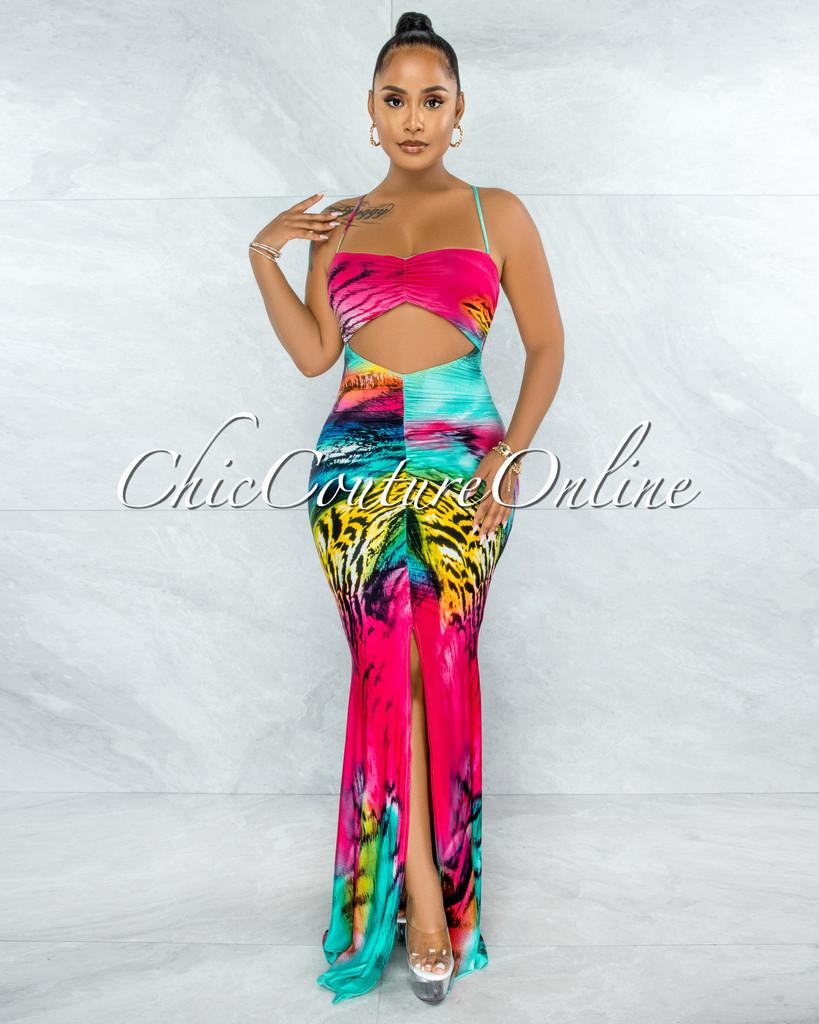 Wiley Fuchsia Multi-Color Print Front Key-Hole Maxi Dress