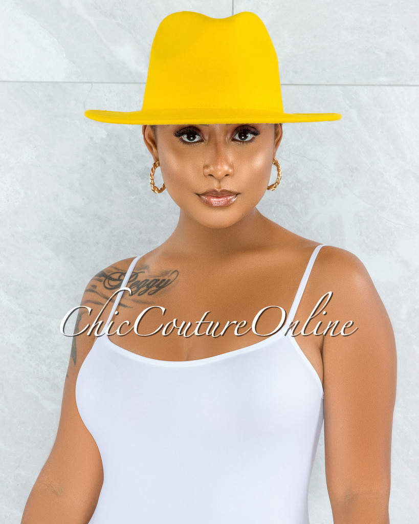 Galvin Yellow Red Faux Suede Panama Hat