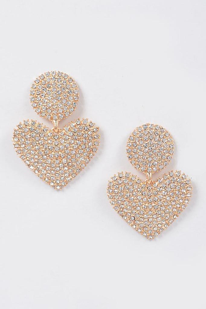 Laney Gold Heart Rhinestone Earring