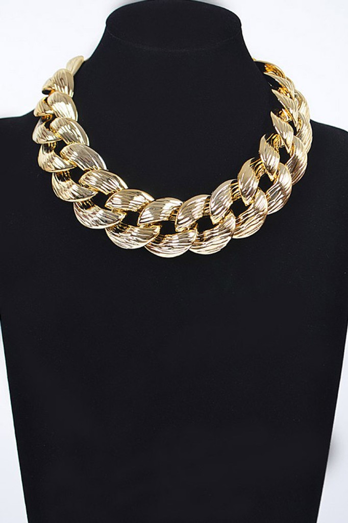 Franny Gold Oversized Plastic Chain Necklace