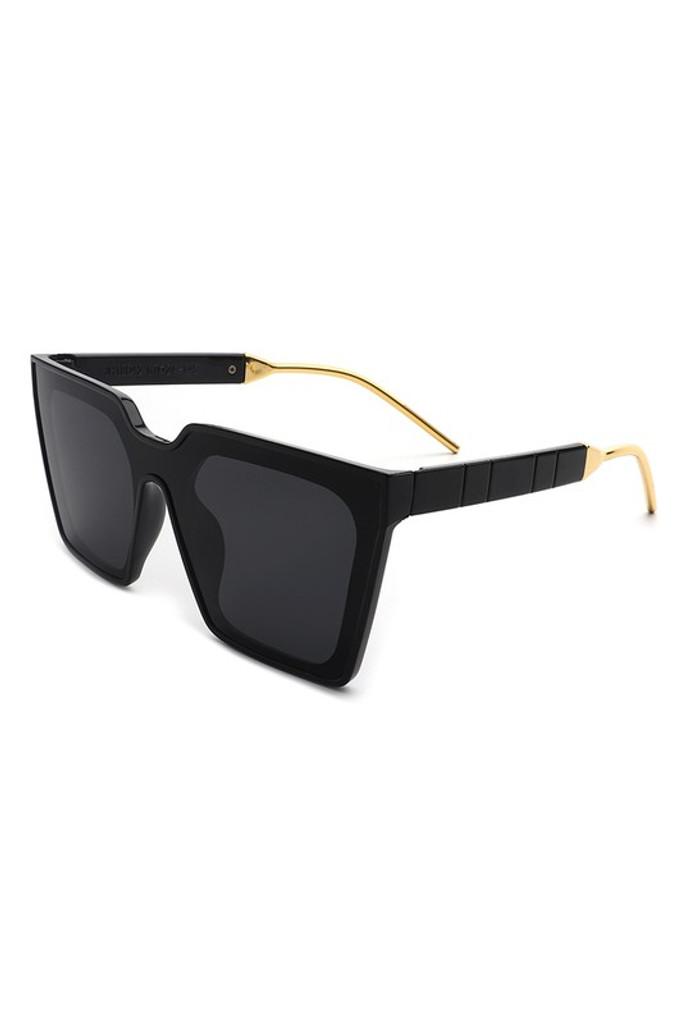 Gareth Black Square Oversize Cat Eye Sunglasses