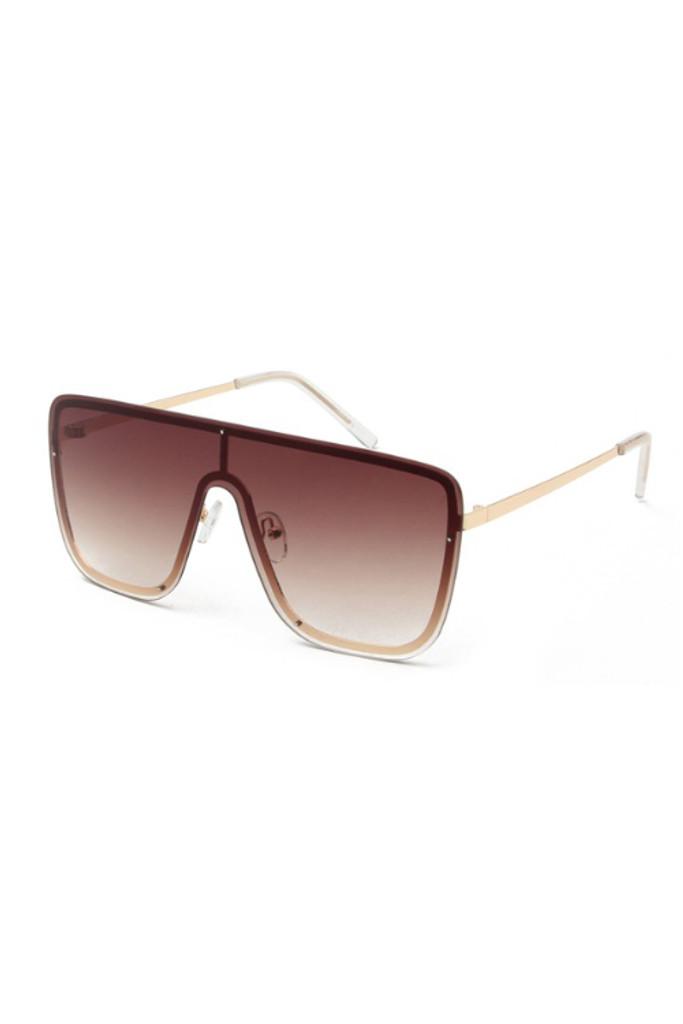 Aleks Brown Oversize Square Sunglasses