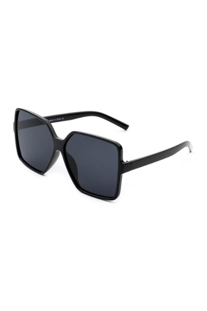 Tiva Black  Square Oversize Sunglasses