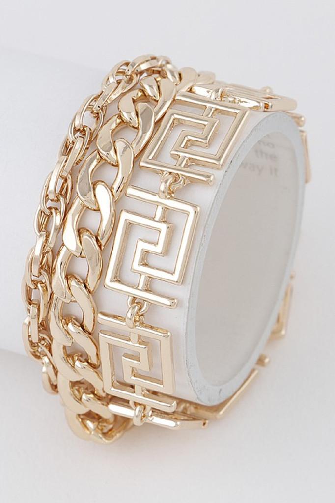 Ricky Gold Patterned Chain Bracelet