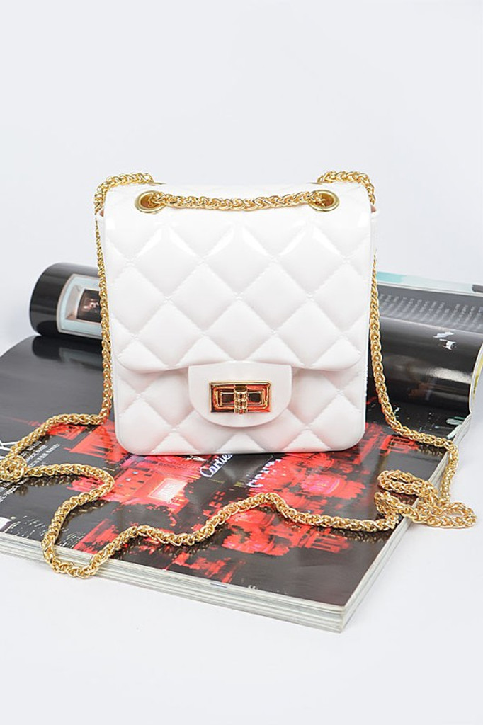 Ornella White Quilted Embossed Jelly Clutch Bag