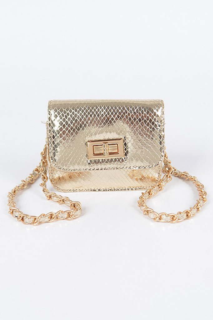 Lamar Gold Shinny Snake Pattern Cross Body Bag