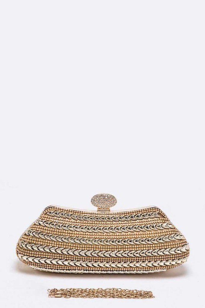 Bambie Gold Crystal Mesh Top Handle Iconic Box Clutch Bag