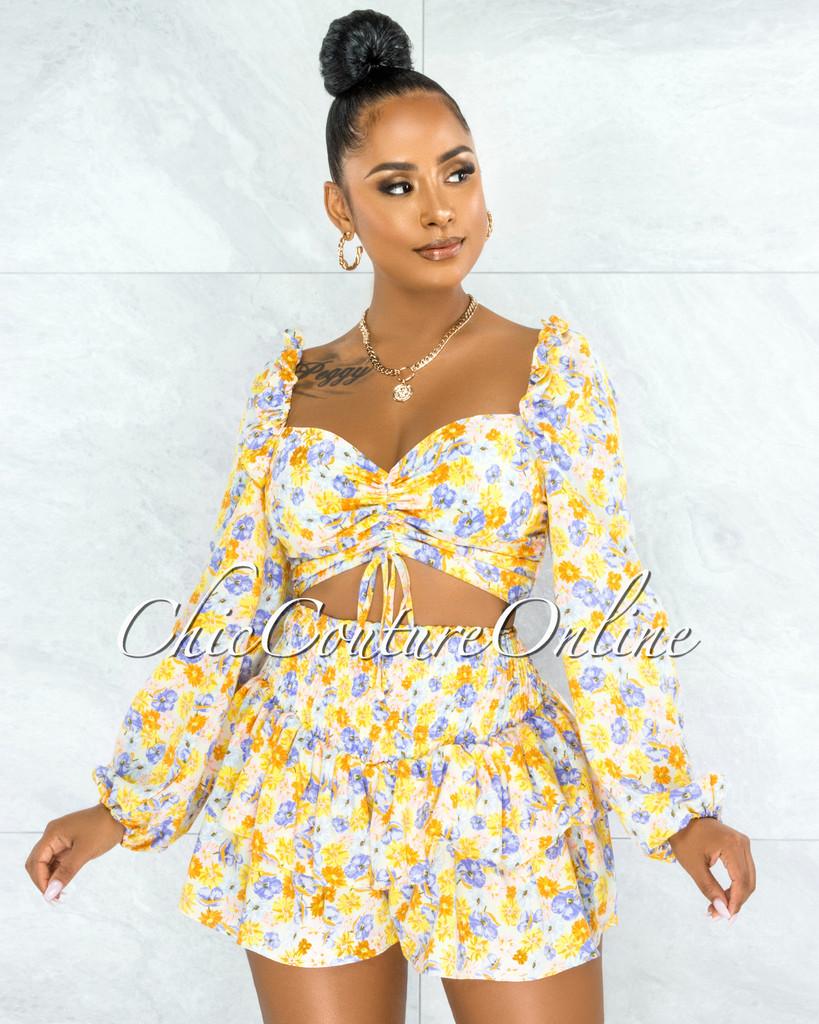 Kalet Yellow Blue Floral Print Ruffle Shorts Two Piece Set
