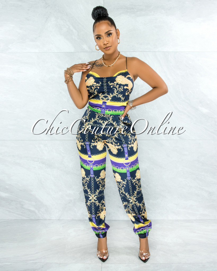 Baakir Navy Blue Multi-Color Print Lace-Up Top & Pants Set