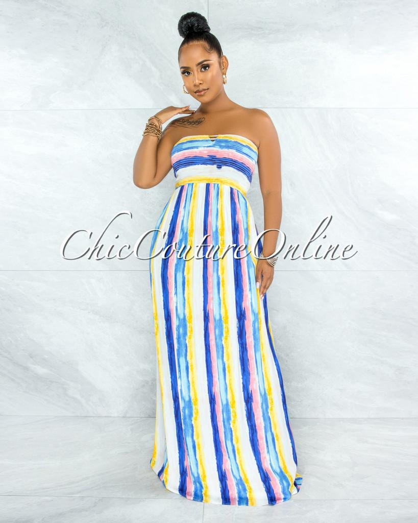 Gardner Blue Yellow Stripes Smocked Strappy Back Maxi Dress