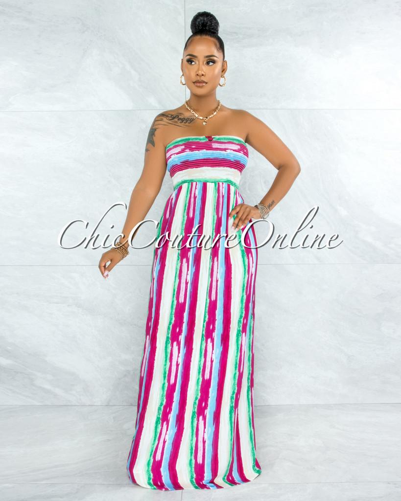 Gardner Fuchsia Green Stripes Smocked Strappy Back Maxi Dress