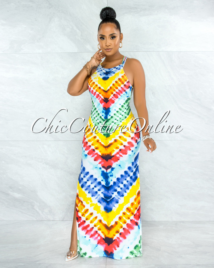 Kynan White Rainbow Tie-Dye Open Strappy Back Maxi Dress