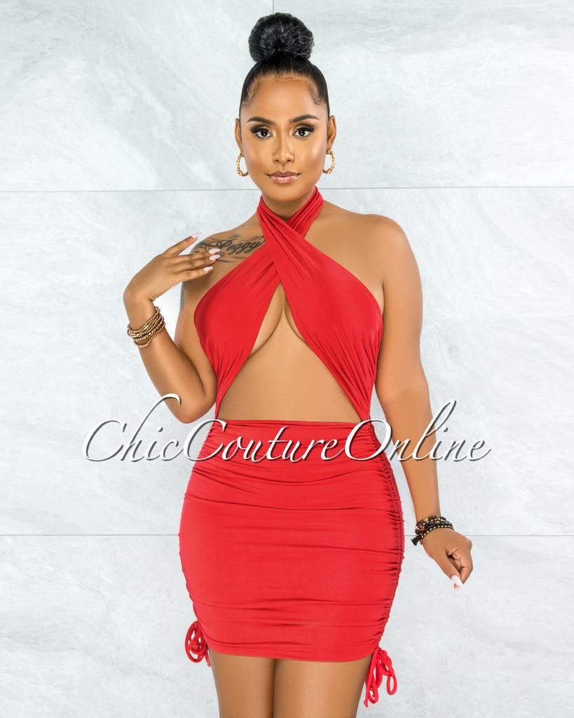 Undine Red Halter Draped Ruched Mini Dress