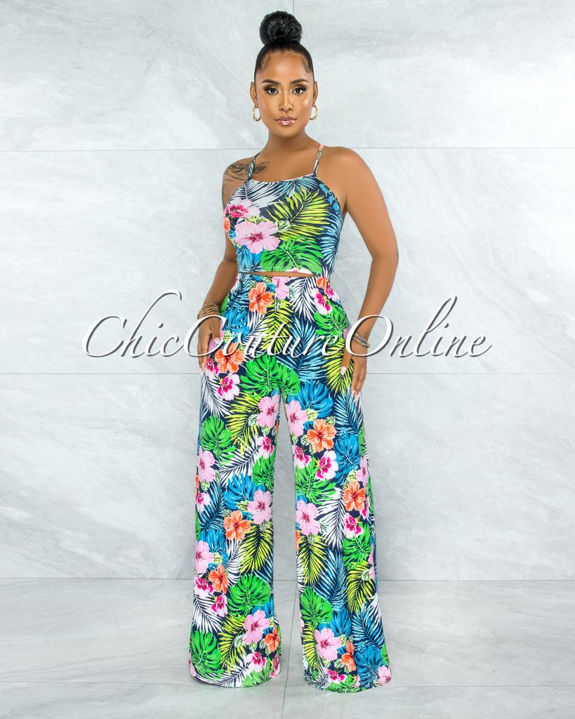 Adrita Navy Blue Floral Print Back Tie Top & Wide Pants Set