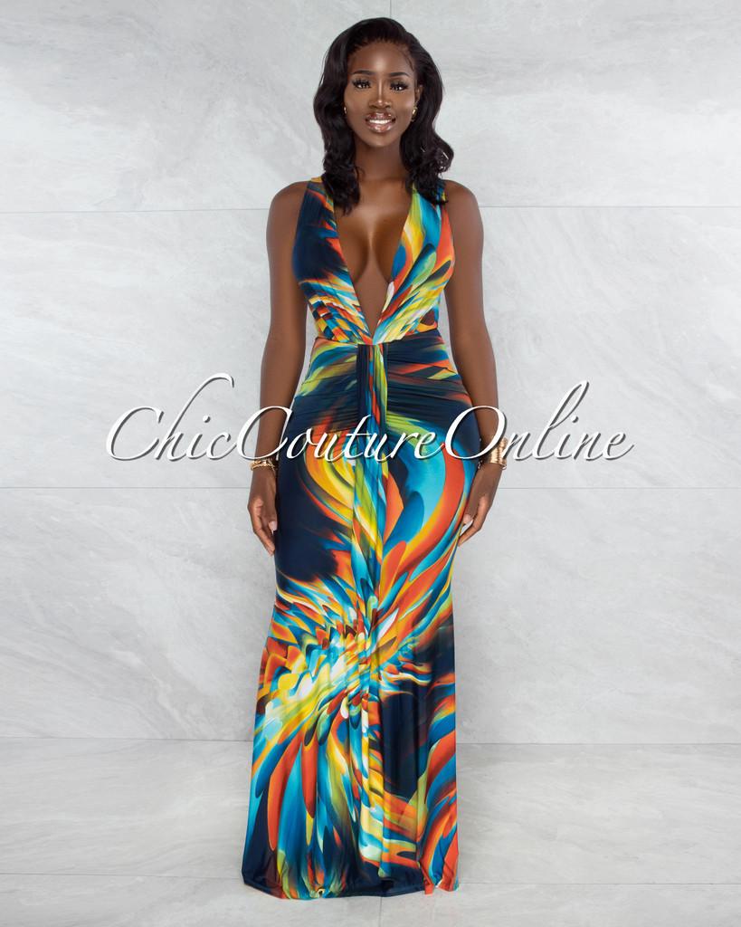 Wendy Navy Blue Green Print Plunging V-Neck Maxi Dress