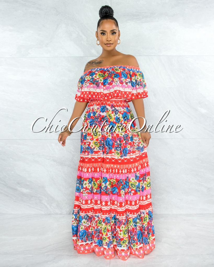 Zetta Red Multi-Color Print Off-The-Shoulder Maxi Dress