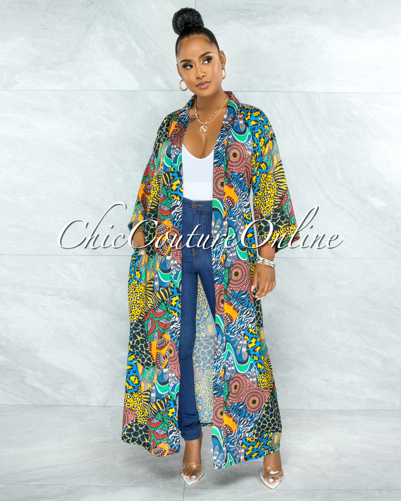 Barric Black Multi-Color Print Satin Luxe Duster