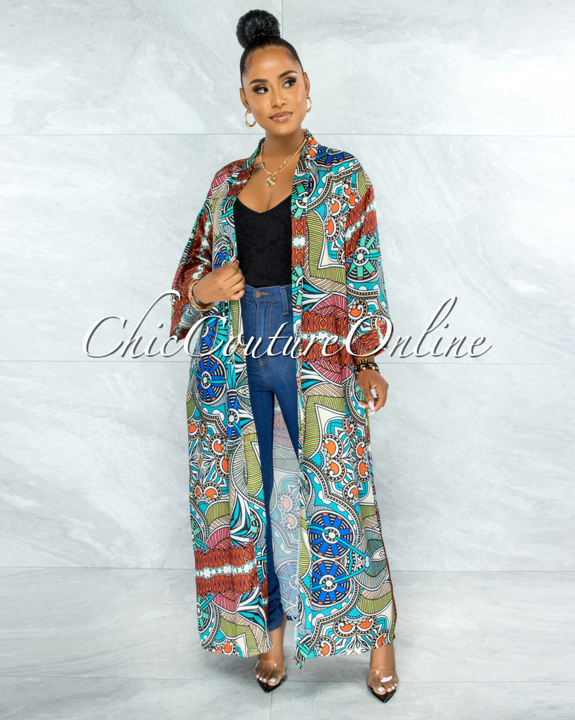 Dominic Mint Brown Multi-Color Print Satin Luxe Duster