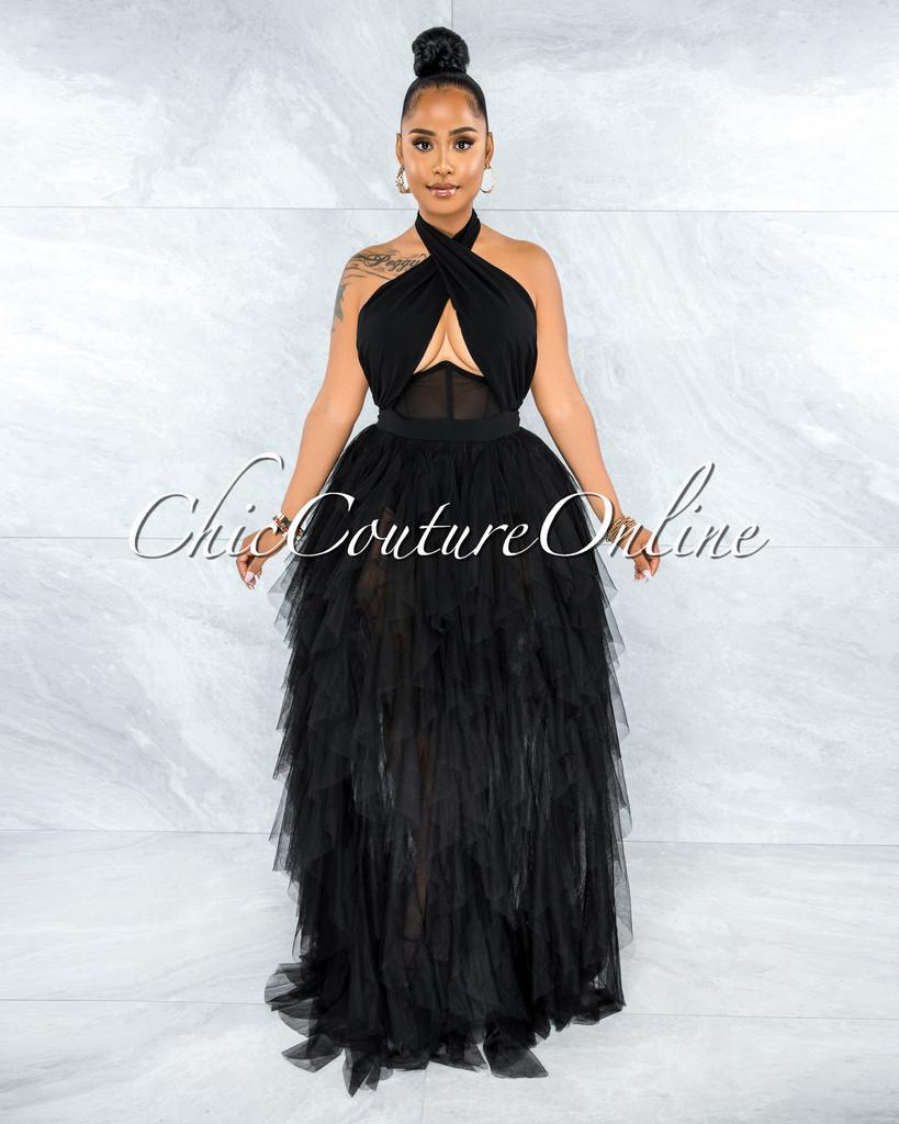 Angelica Black Tulle Halter Ruffle Maxi Dress