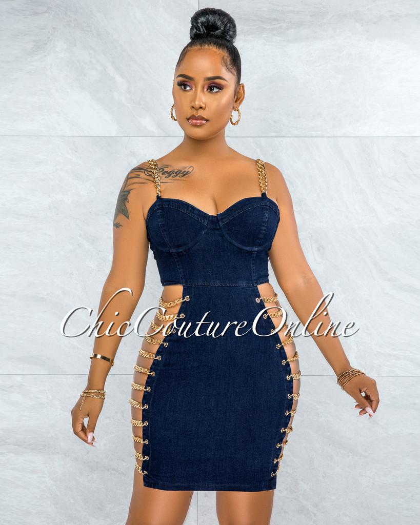 Idelle Dark Denim Gold Link Lace-Up Sides Dress