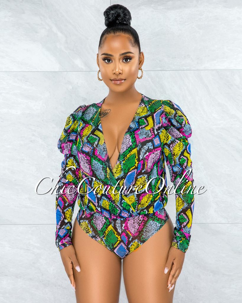Arizona Black Green Snake Print Mesh Sheer Bodysuit
