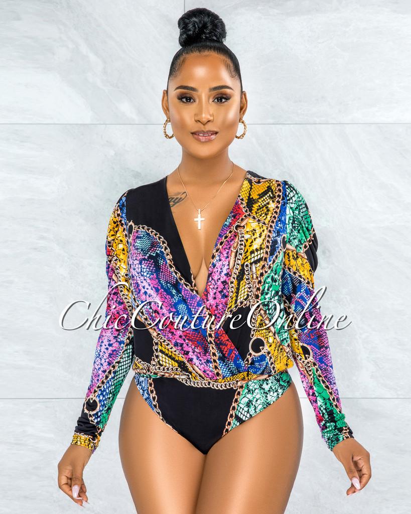Baddie Black Gold Multi-Color Snake Print Bodysuit