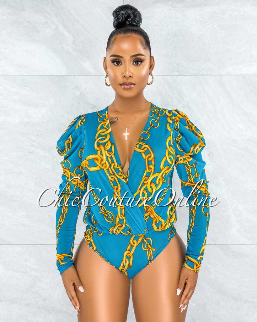 Chien Turquoise Gold Chain Print Mesh Sheer Bodysuit