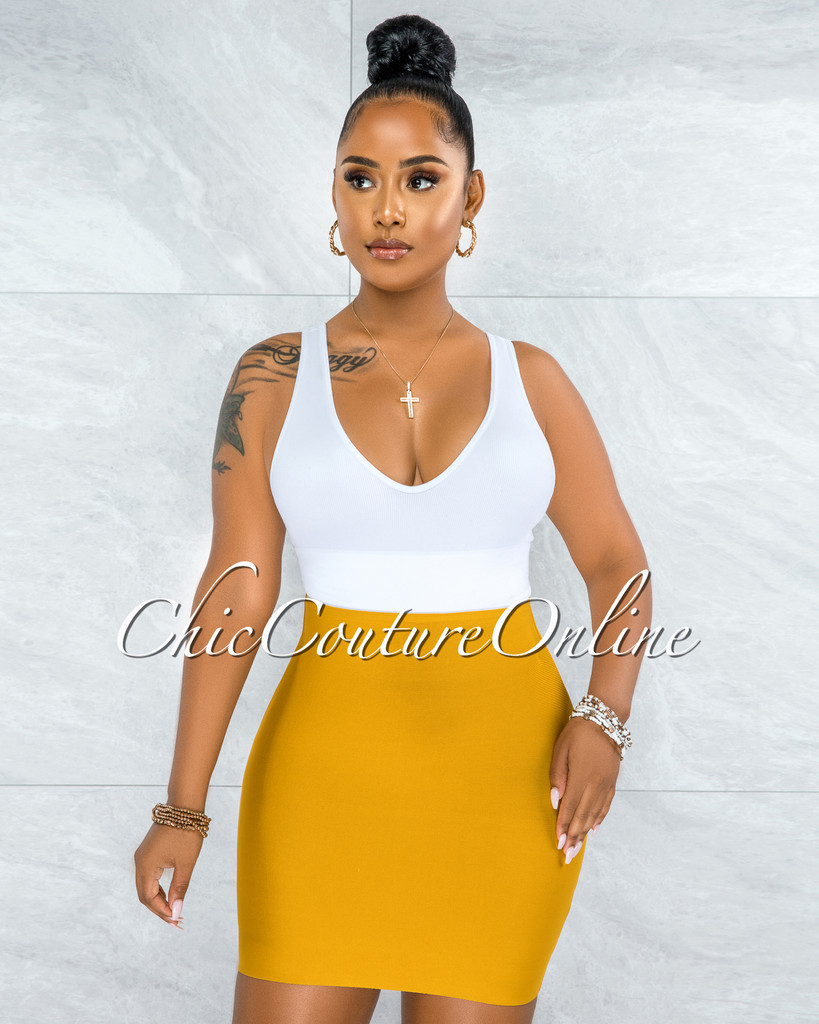 Darence Mustard Yellow Body-Con Bandage Mini Skirt