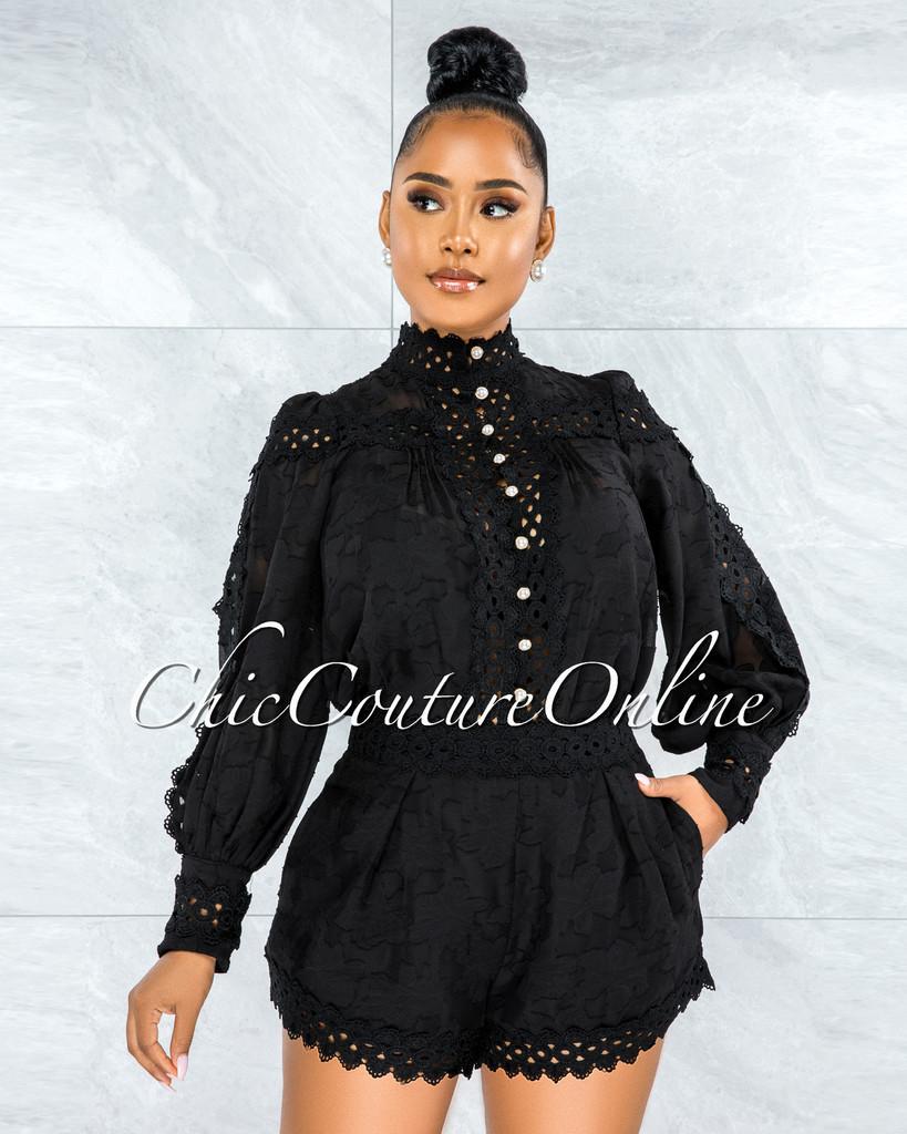 Bansuri Black Crochet Pearl Sheer Blouse & Shorts Set