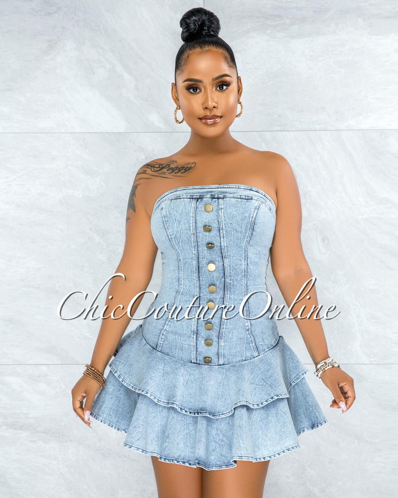 Diarma Light Washed Denim Ruffle Hem Mini Dress