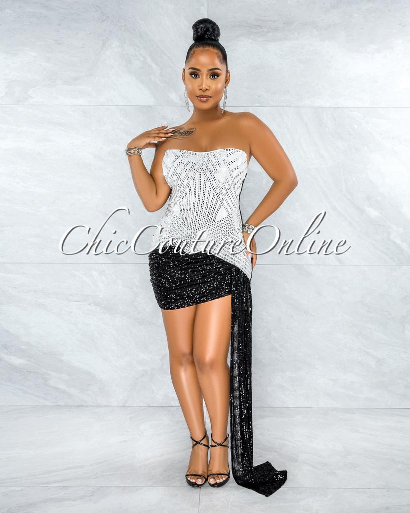 Marjorie White Black Sequins Rhinestones Strap Mini Dress