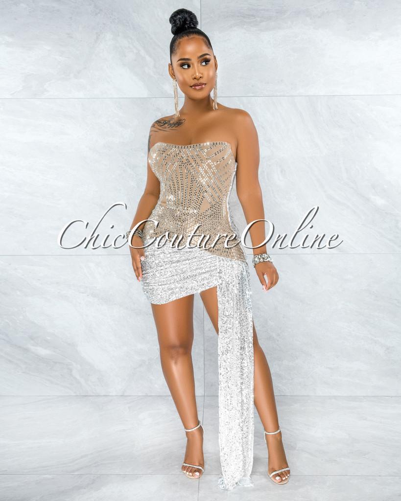 Marjorie Nude White Sequins Rhinestones Strap Mini Dress